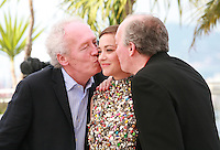 Jean-Pierre Dardenne, Marion Cotillard and Luc Dardenne at the photo call for the film Two Days, One Night (Deux Jours, Une Nuit) at the 67th Cannes Film Festival, Tuesday 20th May 2014, Cannes, France.