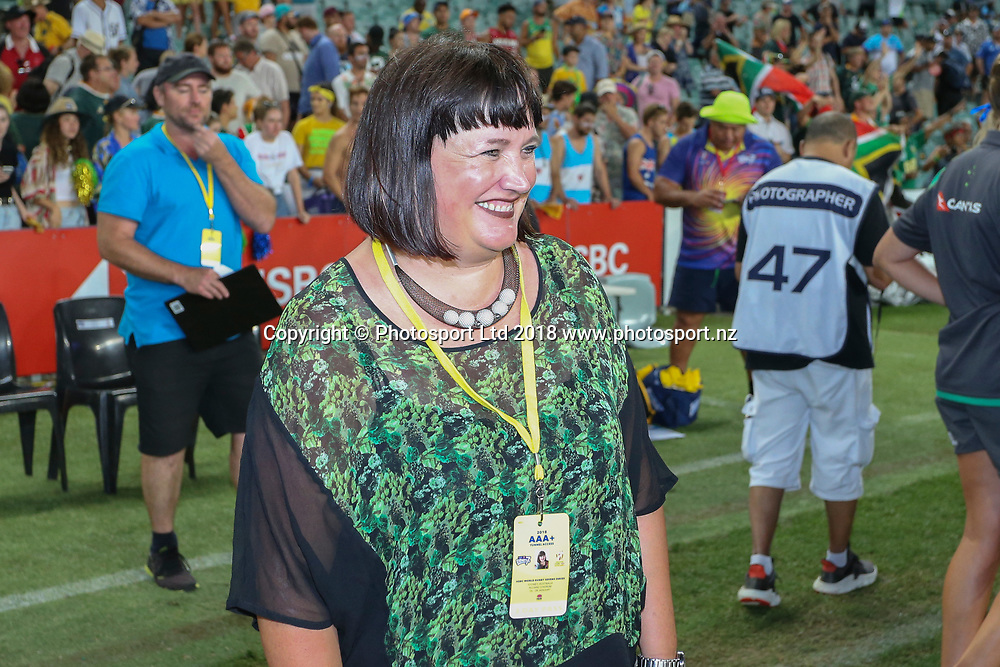 A pleased looking Raelene Castle after Australia win the HSBC Sydney Rugby Sevens Final at Allianz Stadium against South Africa, Sydney,  Sunday 28th January 2018. Copyright Photo: David Neilson / www.photosport.nz