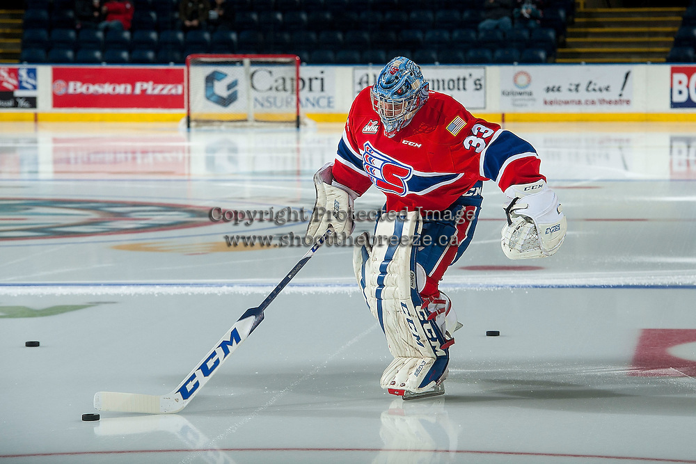 KELOWNA, CANADA - JANUARY 4: Jayden Sittler #33 of the Spokane Chiefs enters the ice for warm up against the Kelowna Rocketson January 4, 2017 at Prospera Place in Kelowna, British Columbia, Canada.  (Photo by Marissa Baecker/Shoot the Breeze)  *** Local Caption *** Jayden Sittler;