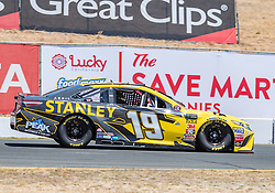 June 22, 2018 - Sonoma, CA, U.S. - SONOMA, CA - JUNE 22:  Daniel Suarez, driving the #(19) Toyota for Joe Gibbs Racing speeds toward turn 9 on Friday, June 22, 2018 at the Toyota/Save Mart 350 Practice day at Sonoma Raceway, Sonoma, CA (Photo by Douglas Stringer/Icon Sportswire) (Credit Image: © Douglas Stringer/Icon SMI via ZUMA Press)