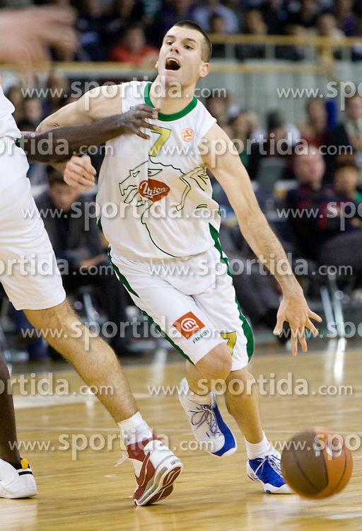 Sani Becirovic (7) of Olimpija  at Euroleague basketball match in 6th Round of Group C between KK Union Olimpija and Maccabi Tel Aviv, on December 3, 2009, in Arena Tivoli, Ljubljana, Slovenia. Maccabi defeated Union Olimpija 82-65. (Photo by Vid Ponikvar / Sportida)