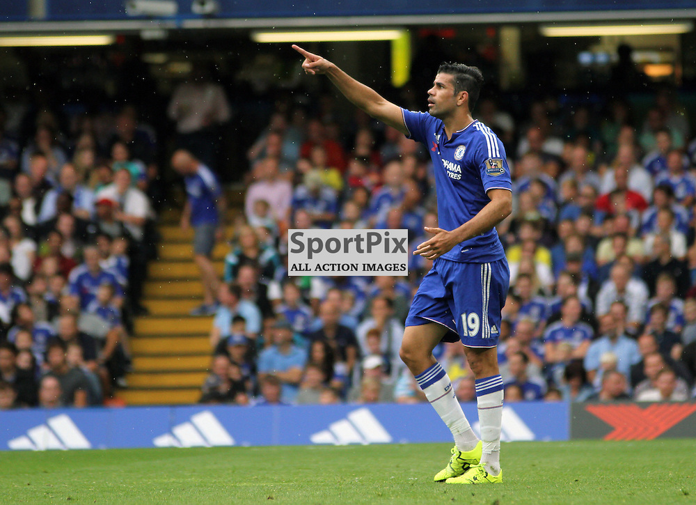 Diego Costa points to the big screen to suggest the linesman has made an incorrect decision During Chelsea vs Crystal Palace on Saturday the 29th August 2015