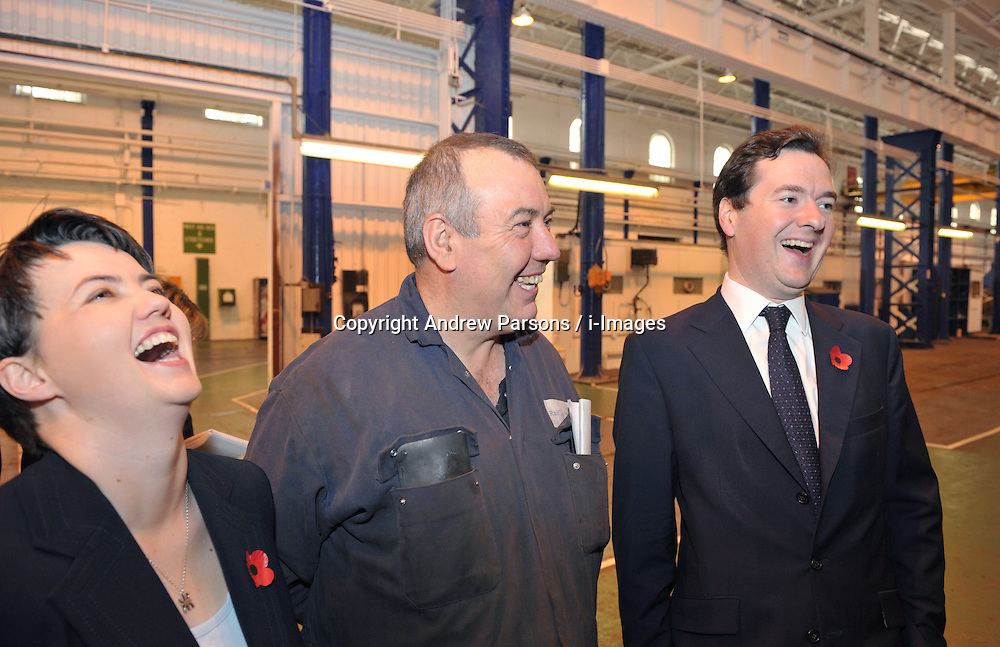 George Osborne Shadow Chancellor of the Exchequer with Scottish Conservative candidate Ruth Davidson as they talk to James McAveety during a visit to Railcare-Springburn, Glasgow, Thursday October 22, 2009. Photo By Andrew Parsons / i-Images.
