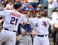 CHICAGO - JULY 02:  Yolmer Sanchez #5 celebrates with Todd Frazier #21 of the Chicago White Sox after Sanchez hit a two-run home run in the eighth inning against the Texas Rangers on July 2, 2017 at Guaranteed Rate Field in Chicago, Illinois.  The White Sox defeated the Rangers 6-5.  (Photo by Ron Vesely) Subject:   Yolmer Sanchez; Todd Frazier