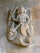 France, Brittany.  St Lery church - detail of carving.
