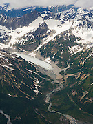 Aerial view of mountains, snow and glaciers, Lake Clark National Park, Alaska.
