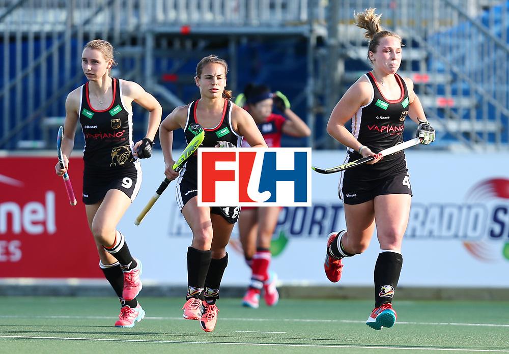 New Zealand, Auckland - 22/11/17  <br /> Sentinel Homes Women&rsquo;s Hockey World League Final<br /> Harbour Hockey Stadium<br /> Copyrigth: Worldsportpics, Rodrigo Jaramillo<br /> Match ID: 10303 - GER vs KOR<br /> Photo: (4) LORENZ Nike, (18) ALTENBURG Lisa (C) and (9) GR&Auml;VE Elisa