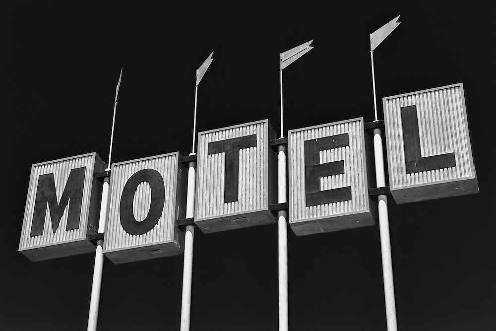 Motel Sign Northbound View - Famoso, CA - Highway 99 - HDR - Infrared Black & White