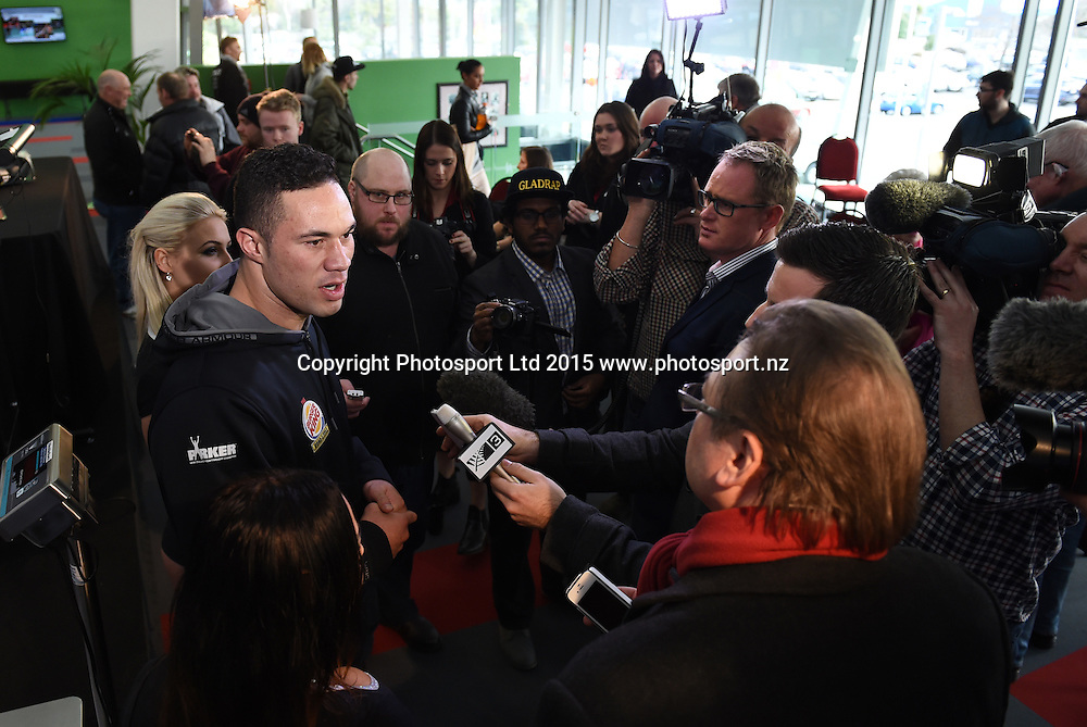 New Zealand Heavyweight boxer Joseph Parker talks to the media during the weigh in ahead of the Burger King Road to the Title fight at ILT Stadium Stadium iin Invercargill, New Zealand. Friday 31 July 2015. Copyright photo: Andrew Cornaga / www.photosport.nz