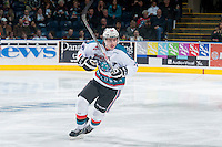 KELOWNA, CANADA - MARCH 21: Kole Lind #16 of the Kelowna Rockets skates against the Vancouver Giants on March 21, 2015 at Prospera Place in Kelowna, British Columbia, Canada.  (Photo by Marissa Baecker/Shoot the Breeze)  *** Local Caption *** Kole Lind;