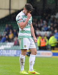 Dejection for Yeovil Town's Joe Edwards- Photo mandatory by-line: Harry Trump/JMP - Mobile: 07966 386802 - 25/04/15 - SPORT - FOOTBALL - Sky Bet League One - Yeovil Town v Port Vale - Huish Park, Yeovil, England.