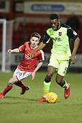 Troy Archibold-Henville for Exeter and Tom Lowery for Crewe during the EFL Sky Bet League 2 match between Crewe Alexandra and Exeter City at Alexandra Stadium, Crewe, England on 20 February 2018. Picture by Graham Holt.
