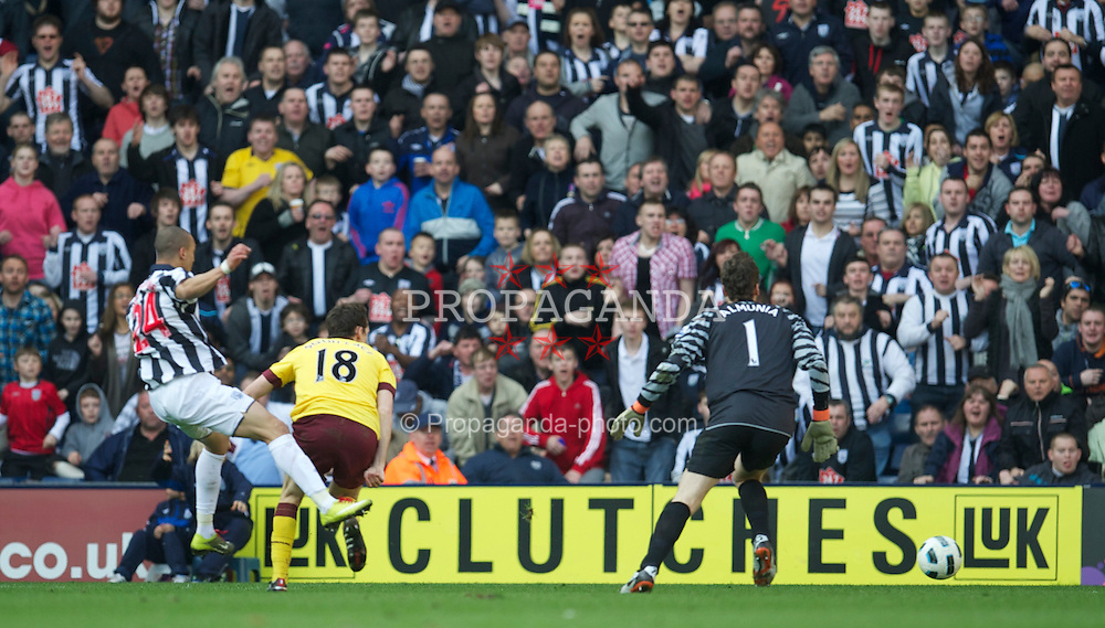 WEST BROMWICH, ENGLAND - Saturday, March 19, 2011: West Bromwich Albion's Peter Odemwingie scores the second goal against Arsenal during the Premiership match at the Hawthorns. (Photo by David Rawcliffe/Propaganda)