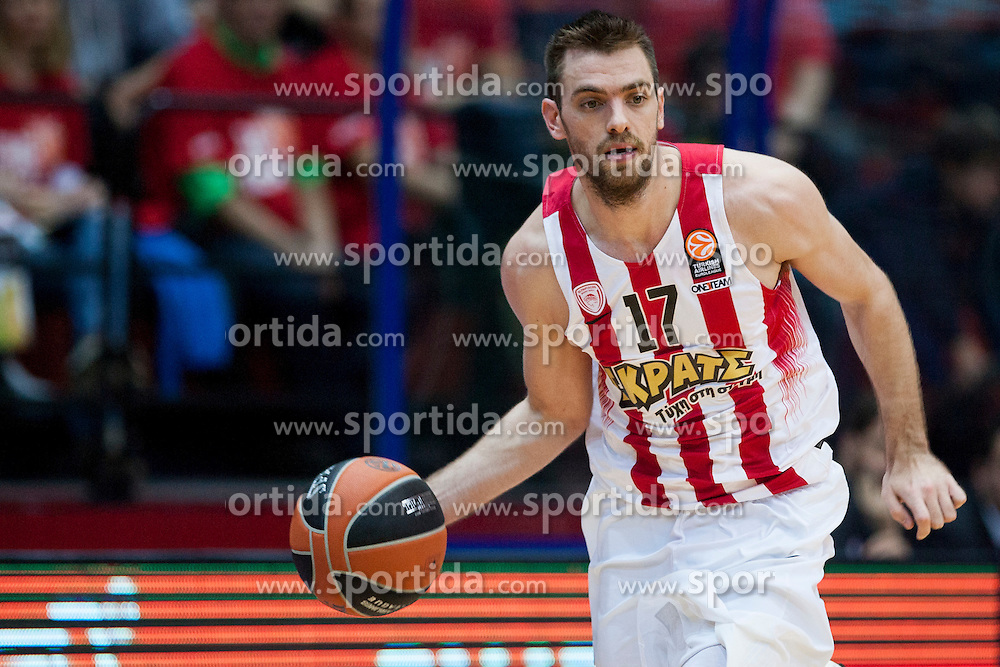 Vangelis Mantzaris of Olympiacos during Euroleague basketball match in 6th Round of Group B between KK Cedevita Zagreb and Olympiacos Piraeus, on November 19, 2015, in Drazen Petrovic basketball hall, Zagreb, Croatia.