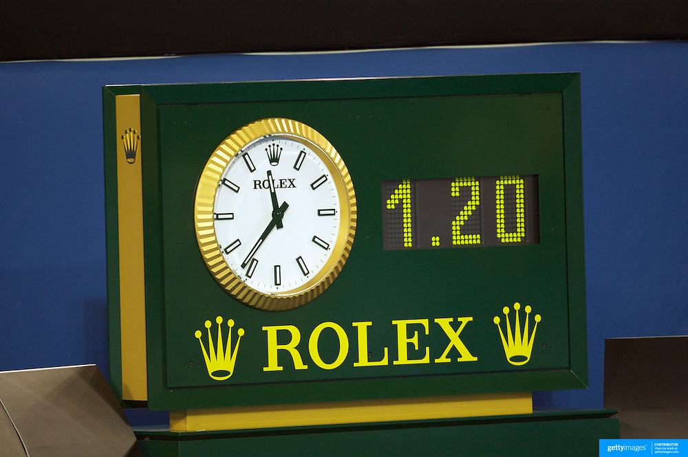 The clock showing the match time of one hour and twenty minutes as Roger Federer of Switzerland demolished Juan Martin Del Potro of Argentina at the Australian Tennis Open on January 27, 2009 in Melbourne, Australia. Photo Tim Clayton    .