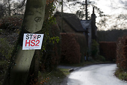 © Licensed to London News Pictures. 27/01/2012. Hyde Heath, UK. An anti HS2 (High Speed Rail 2) sign outside a property in the village of Hyde Heath, Buckinghamshire. Scheduled to be completed by 2033, the new Rail system will have huge effects on the English village. Photo credit : Ben Cawthra/LNP