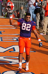 November 21, 2009; Clemson, SC, USA;  Clemson Tigers tight end Durrell Barry (82) on the hill before the game against the Virginia Cavaliers at Memorial Stadium.  Clemson defeated Virginia 34-21.