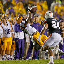 Sep 21, 2013; Baton Rouge, LA, USA; LSU Tigers wide receiver Jarvis Landry (80) makes a catch against the Auburn Tigers during the first quarter of a game at Tiger Stadium. Mandatory Credit: Derick E. Hingle-USA TODAY Sports