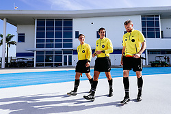 Bristol City analyst Luke Coles with Referee Igor Santos and Assistant referee Juarez Lago during the 2nd leg of the match after the previous day's game was abandoned at half time due to extreme weather - Rogan/JMP - 14/07/2019 - IMG Academy, Bradenton - Florida, USA - Bristol City v Derby County - Pre-Season Tour Day 3.