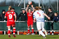 Corinne Yorston of Bristol City Women takes a throw in  - Mandatory byline: Rogan Thomson/JMP - 14/02/2016 - FOOTBALL - Stoke Gifford Stadium - Bristol, England - Bristol City Women v Queens Park Rangers Ladies - SSE Women's FA Cup Third Round Proper.