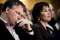 Nederland. Amsterdam, 6 oktober 2007.<br /> PvdA Congres in de RAI. Partijleider Wouter Bos, achtergrond : partijvoorzitter Lilianne Ploumen.<br /> Foto Martijn Beekman <br /> NIET VOOR TROUW, AD, TELEGRAAF, NRC EN HET PAROOL