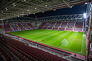 General view inside Tynecastle Park, Edinburgh, Scotland before the Ladbrokes Scottish Premiership match between Heart of Midlothian FC and Livingston FC on 4 December 2019.