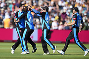 Wayne Parnell, Daryl Mitchell, Charlie Morrisn and Ross Whiteley of Worcestershire Rapids celebrate winning the first semi final and beating Notts Outlaws by 1 run during the Vitality T20 Finals Day 2019 match between Notts Outlaws and Worcestershire Rapids at Edgbaston, Birmingham, United Kingdom on 21 September 2019.