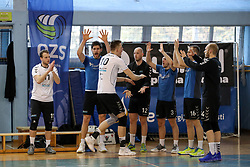 Saso Stalekar of Calcit Volley with teammates during volleyball match between Calcit Volley and Salonit Anhovo in Semifinal of Slovenian League 2017/18, on April 14, 2018 in Sportna Dvorana, Kamnik, Slovenia. Slovenia. Photo by Matic Klansek Velej / Sportida