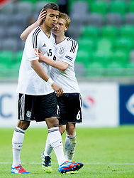Kevin Akpoguma of Germany and Nico Brandenburger of Germany during the UEFA European Under-17 Championship Final match between Germany and Netherlands on May 16, 2012 in SRC Stozice, Ljubljana, Slovenia. Netherlands defeated Germany after penalty shots and became European Under-17 Champion 2012. (Photo by Vid Ponikvar / Sportida.com)