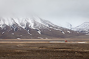 red hut and mountains, Svalbard II