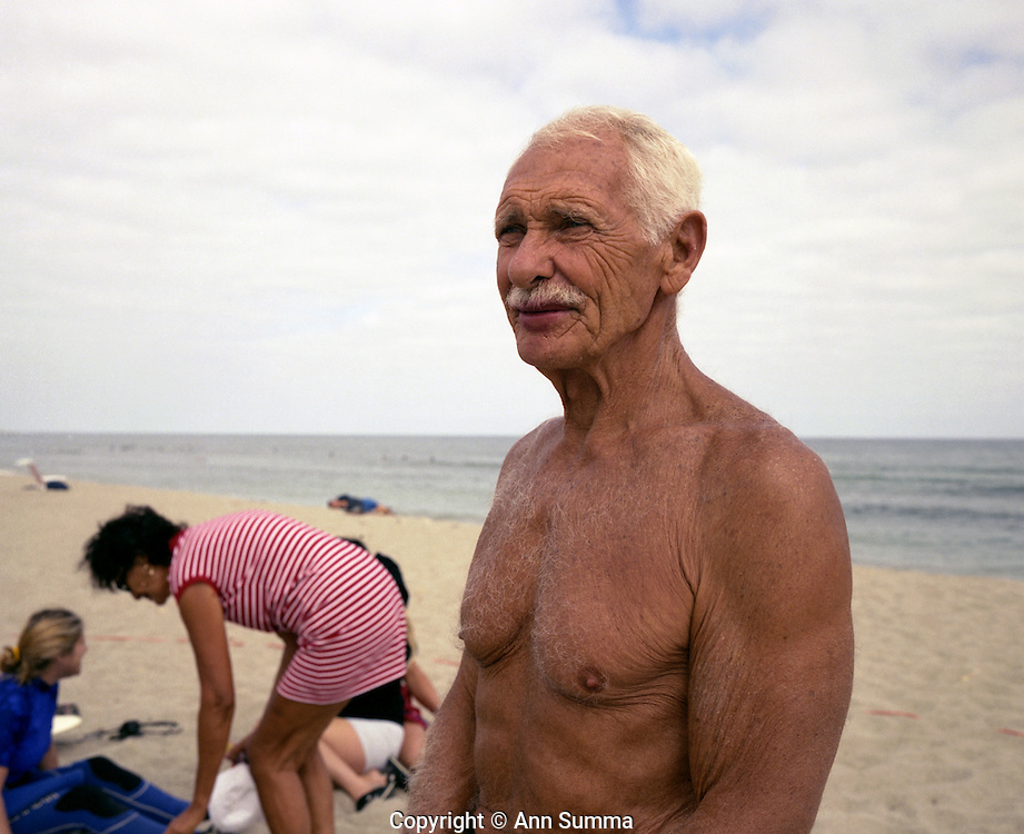San Onofre, California: Legendary family leader, Dr. Dorian ?Doc? Paskowitz  on the beach at their surf camp in San Onofre near Oceanside, California, 2/8/2000.