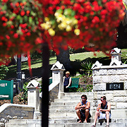 People enjoy lunch on the steps of Christ Church Cathedral, the Anglican cathedral in Nelson. The cathedral is located at upper Trafalgar Street. Nelson,  New Zealand,  31st January 2011. Photo Tim Clayton.