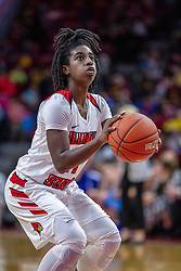 NORMAL, IL - December 20: At the line, Te Te Maggett during a college women's basketball game between the ISU Redbirds and the St. Louis Billikens on December 20 2018 at Redbird Arena in Normal, IL. (Photo by Alan Look)