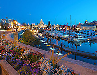 Spring flowers add color as twilight settles on the Inner Harbour of Victoria, BC, Canada at twilight The BC Parliament Buildings overlook the water.