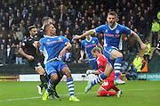Ashley Eastham, Rhys Bennett during the Sky Bet League 1 match between Rochdale and Wigan Athletic at Spotland, Rochdale, England on 14 November 2015. Photo by Daniel Youngs.