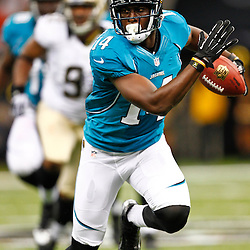 August 17, 2012; New Orleans, LA, USA; Jacksonville Jaguars wide receiver Justin Blackmon (14) against the New Orleans Saints during the first half of a preseason game at the Mercedes-Benz Superdome. Mandatory Credit: Derick E. Hingle-US PRESSWIRE