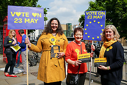 © Licensed to London News Pictures. 18/05/2019. London, UK. Liberal Democrats MEP candidate Helen Cross (L), former Member of the European Parliament Baroness Sarah Ludford (C) and prospective Lib Dem Parliamentary candidate Kate Pothalingam (R) campaigning in Islington, north London for the forthcoming European Parliament election. Photo credit: Dinendra Haria/LNP