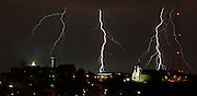 Wednesday, May 2, 2012 LIGHTNING METRO : As storm rolled through the Tristate it brought along lots of lightning along with heavy rain and hail in places. The tail end of the storms lit up the sky just north of Mt Adams and the Holy Cross-Immaculata church. The Enquirer/Jeff Swinger