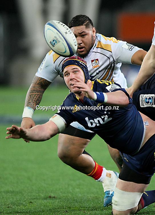 Joe Wheeler of the Highlanders in the Super 15 rugby match, Highlanders v Chiefs, Forsyth Barr Stadium, Dunedin, New Zealand, Friday, June 27, 2014. Photo: Dianne Manson / www.photosport.co.nz