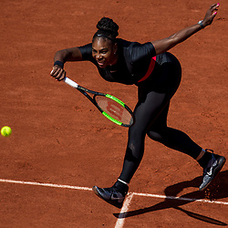 May 29, 2018 - Paris, France - Serena Williams of United States returns the ball to Kristyna Pliskova of Czech Republic during the first round at Roland Garros Grand Slam Tournament - Day 3 on May 29, 2018 in Paris, France. (Credit Image: © Robert Szaniszlo/NurPhoto via ZUMA Press)