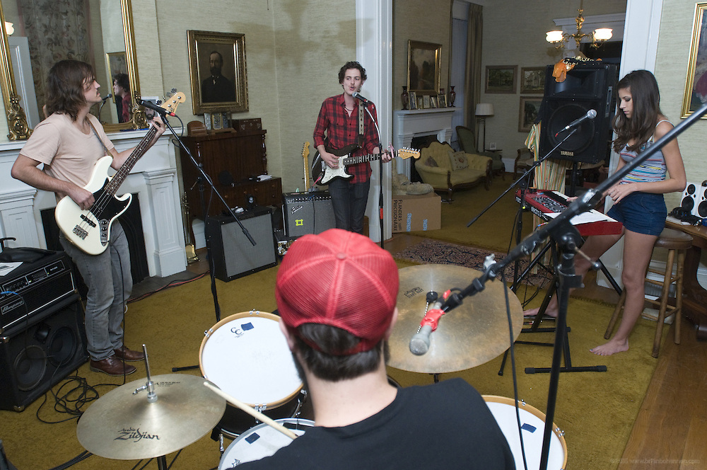 Houndmouth practices at the home of drummer Shane Cody, foreground, Friday, Aug. 17, 2012, in New Albany, Ind. The group's other members are, from left, Zak Appleby, Matt Myers and Katie Toupin. Houndmouth did their own recordings when they first started out, but eventually worked with producer Kevin Ratterman at his studio on Market Street in Louisville. (Photo by Brian Bohannon)