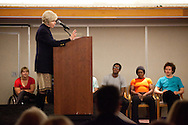 Audrey Geisel gives birthday remarks about her late husband, Theodore Geisel, aka Dr. Suess, at the UCSD Faculty Club celebration of the late author's 107th birthday, March 2, 2011.
