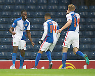 Hope Akpan of Blackburn Rovers (left) celebrates after scoring his team's 1st goal to make it 1-0 during the Sky Bet Championship match at Ewood Park, Blackburn<br /> Picture by Russell Hart/Focus Images Ltd 07791 688 420<br /> 28/11/2015