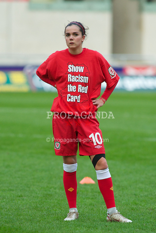 LLANELLI, WALES - Saturday, October 22, 2011: Wales' Gwennan Harries before the UEFA Women's EURO 2013 Qualifying Group 4 match against France at Parc Y Scarlets. (Pic by Gareth Davies/Propaganda)