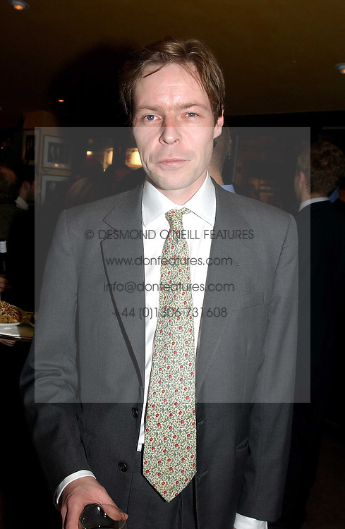 LORD BINGHAM, son and heir of the missing 7th Earl of Lucan at a pre-screening party of a film by Fiona Sanderson entitled 'The Hunt For Lord Lucan' held at Langans, 254 Old Brompton Road, London SW7 on 8th November 2004.<br />