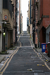 Empty alleyway in Glasgow City Centre during Covid-19 pandemic lockdown Scotland, UK
