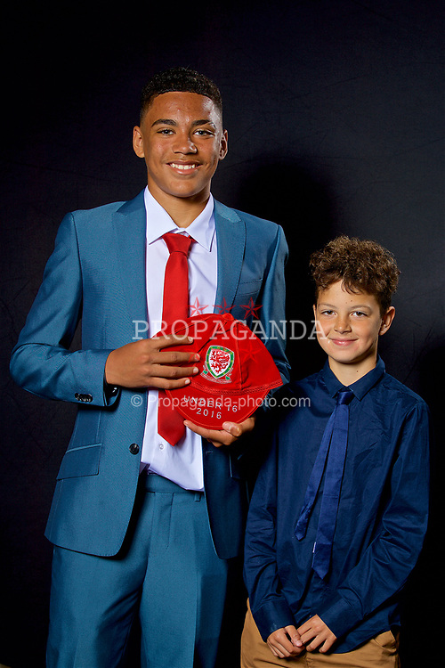 NEWPORT, WALES - Saturday, May 27, 2017: Rival Mardenborough and his family with his Under-16 Wales cap at the Celtic Manor Resort. (Pic by David Rawcliffe/Propaganda)