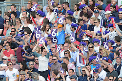 Gloucestershire fans cheer - Photo mandatory by-line: Dougie Allward/JMP - Mobile: 07966 386802 - 19/06/2015 - SPORT - Cricket - Bristol - County Ground - Gloucestershire v Somerset - Natwest T20 Blast