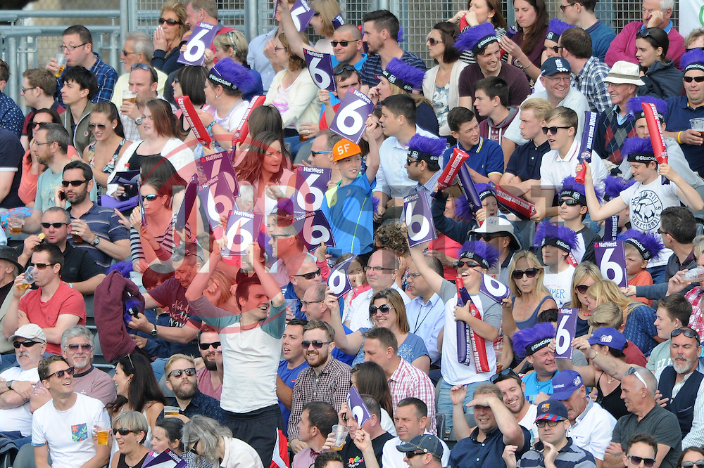 Gloucestershire fans cheer - Photo mandatory by-line: Dougie Allward/JMP - Mobile: 07966 386802 - 19/06/2015 - SPORT - Cricket - Bristol - County Ground - Gloucestershire v Somerset - Natwest T20 Blast
