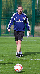 NEWPORT, WALES - Wednesday, September 24, 2014: Wales' coach Carl Doncaster training at Dragon Park ahead of the Under-16's International Friendly match against France. (Pic by David Rawcliffe/Propaganda)